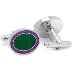 Green and Purple Oval Outline Cufflinks