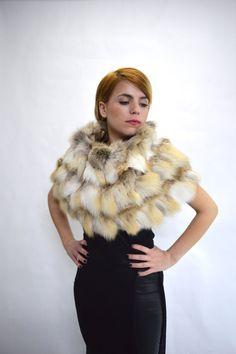 Real fur collar fox collar golden fox fur cowl fur collar by BeFur