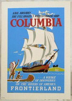 NEW Disneyland Disney D23 2013 Expo Columbia Ship Frontierland Print | eBay