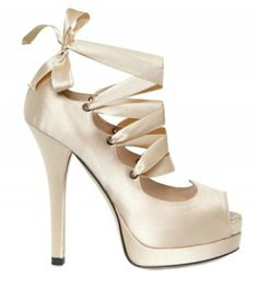 """Fendi """"Circus"""" silk cross over lace pump from spring/summer 2012 collection. It reminds me of ballerina shoe."""