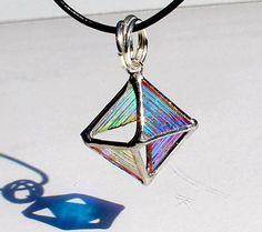 3D Dichroic Octahedron Necklace Stained Glass Jewelry by LAGlass