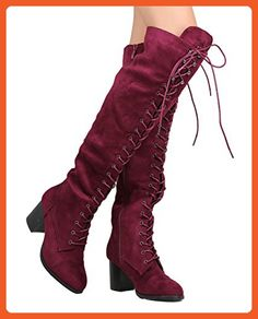 631dcf9b62b67e Goliath 01 Womens Thigh High Lace UP Chunk Heel Combat Boots Wine 8.5 -  Boots for