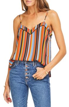 Women's Astr The Label Deja Striped Camisole Top, Size Small - Orange Western Tops, Tank Top Outfits, Zara, Weekend Outfit, Sexy Jeans, Colourful Outfits, Cute Summer Outfits, Cami Tops, Blazer