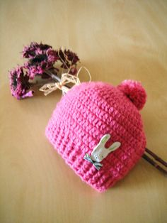crochet baby hat pink baby beanie crochet hat with by hana31