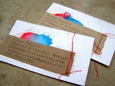 I like the idea of adding stitching to business cards--maybe a few diagonal lines.
