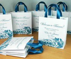 30 Dusty Blue Wedding Welcome Bags with satin ribbon handles, your names and location, Personalized Wedding Gift Bags, Wedding Gifts For Guests, Beach Wedding Favors, Wedding Favor Boxes, Wedding Favors For Guests, Unique Wedding Favors, Personalized Wedding Gifts, Personalized Ribbon, Wedding Ideas