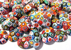 Murano Millefiori Cabochons 18mm x 25mm VINTAGE 1970 Fifty (50) MILLEFIORI Venetian Glass Murano Cabs Large Lot Jewelry Mosaic Supply (T122) by punksrus on Etsy
