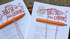 Customize your own baby shower game to fit your theme. Use Paper Source baker's twine: http://www.papersource.com/item/Red-White-Bakers-Twine/3650_042/442655.html to top it off.