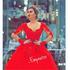V-Neck Gorgeous Red Long Sleeve Lace 2019 Evening Dress Quality Wedding Dresses, Prom Dresses, Evening Dresses, Bridesmaid Dresses, Homecoming Dress - Red Wedding Dresses, Wedding Dresses Plus Size, Elegant Wedding Dress, Wedding Gowns, Formal Dresses, Bridesmaid Dresses, Prom Dresses, Applique Wedding Dress, Wedding Dress Sleeves