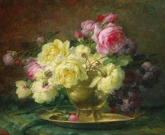Andre Perrachon Still Life with Roses 19th century