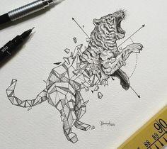 Geometric tiger tattoo design • Visit artskillus.ru for more tattoo ideas
