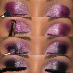 Maquillaje en rosado y negro