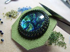 Video: Embroidery cabochon tutorial  #Seed #Bead #Tutorials