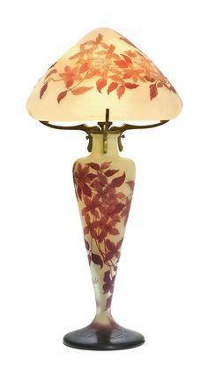 EMILE GALLE (1846 Nancy 1904) Lamp, ca. 1900. Signed: Gallé. H 57 cm.