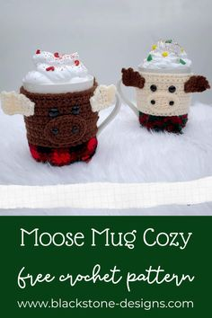 Moose Mug Cozy free crochet pattern from Blackstone Designs #crochetpattern #moose #crochet #mugwrap #mugcozy #coffeecozy #cupcozy #crochetmoose #moosecrafts