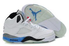 the latest 8740c bc2ec Nike Air Jordan 5 Retro White Black True Blue Cement Shoes Jordan Shoes For  Sale,
