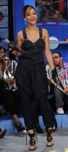 Rihanna wearing Levi's for Jean Paul Gaultier Overalls and Kokon to Zai Short Boots in Beige.