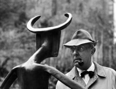 Jacques Tati at the Museum of Modern Art's Sculpture Garden in New York, 1958.