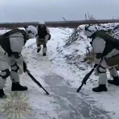 The soldiers decided to arrange their kind of curling