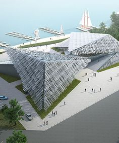 kengo kuma shapes yangcheng lake tourist center in china with triangular roofs