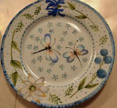 Magia Pura Kitchenware, Tableware, Pottery Painting, Ceramic Plates, China Porcelain, Surface Design, Dishes, Damselflies, Country