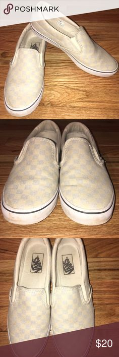 Vans Checkered Slip-On Sneakers Vans Checkered Slip-On Sneakers Size: Womens 8  Color: Baby Blue & Grey Check  Vans The Checkerboard Classic Slip-On features sturdy low profile slip-on canvas uppers made with the iconic Vans checkerboard print, padded collars, elastic side accents, and signature rubber waffle outsoles Gently Used. They do show dirt on canvas and wear on sole.  They can easily be washed if you like them cleaner.  I like my vans to be well worn in and dirty for the more laid…