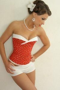 Pin up fashion, this would be an amazing swim suit!!!