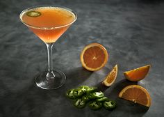 Fiery Mandarin:  Absolute Vodka, Jalapeño slice, orange zest, Cranberry Juice, Lemon Juice, Simple Syrup