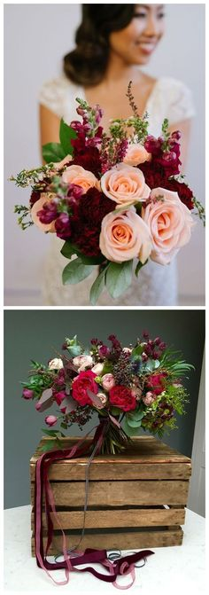 Burgundy Wedding Bouquets for Fall / Winter Wedding #wedding #weddingideas #weddingflowers #fall #flowers #bouquet #weddingflowersfall