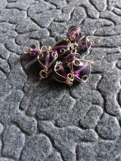 Purple glass wire beads #newjewlz #hempjewlz #hemp #jewelry #glass #wire #beads