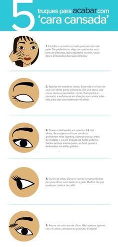 cinco dicas de beleza para acabar com a 'cara de cansada': http://meumundoilusao.blogspot.com.br/2013/12/cinco-dicas-de-beleza-para-acabar-com_25.html#.UrtsoNJDtws