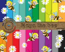 Maya The Bee Digital Papers / 20 Bright And Bold Maya The Bee Digital Baby Paper / Maya The Bee Digital Baby Papers / 80% Mega Off Sale