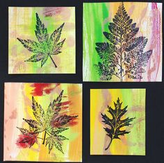 Here are a few small art panels I made by watering down acrylic paint and then using a brush to paint it on the Gelli Plate and pulling off the print on white, unlined index cards. Once dry, I stamped the panels with black permanent ink.