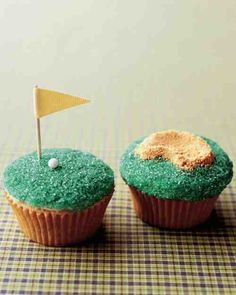 Present Dad with a bunch of golf-themed cupcakes, complete with putting greens and sand traps, on his special day.