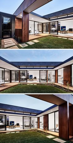 Modern Australian House Wraps Around A Courtyard For Indoor / Outdoor Living Each of the living areas of this modern house as well as one of the bedrooms opens up to the courtyard. U Shaped House Plans, U Shaped Houses, Patio Interior, Interior Exterior, Exterior Design, Modern Courtyard, Courtyard House Plans, Chinese Courtyard, Sustainable Architecture