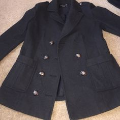 Cute black jacket ‼️⚫️⚫️⚫️⚫️ Missing a button but When you close it you can't tell. Forever 21 Jackets & Coats