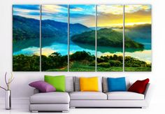 "XLARGE 30""x 70"" 5 Panels Art Canvas Print beautiful mountains sea sunrise sunset trees Wall Home Decor (Included framed 1.5"" depth)"
