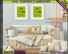 Nursery Interior PSD Print Mockup N16   Set of 2 White Portrait Landscape 11x14 Frame   4 PNG scene