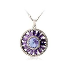 18K Gold Plated Round Pendant Necklace (White Gold)