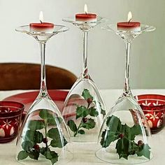 Candles, wine and Christmas mistletoes, the perfect way to celebrate your Christmas dinner with family and friends.