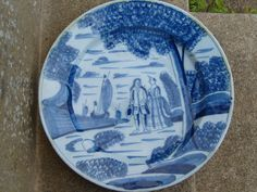 BLUE AND WHITE POTTERY PLATE £150
