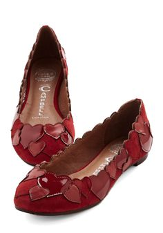 Heart to Finish Flat. From morning until night, youre bound to exude romance with every step of these heart-collaged 'Lots-o-luv' flats by Jeffrey Campbell. #red #modcloth