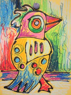 Art to the Moon & Back.  Black glue and oil pastels on colored construction paper.