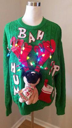 Ugly Christmas Sweater  Bah Hum Pug  Ba Hum by UglySweatersForU