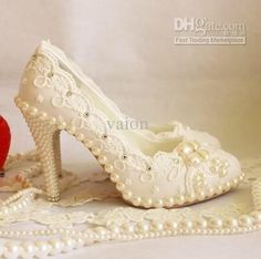 fashion rhinestone imitation pearl decoration lacing platform high heeled  single shoes sexy women wedding bridal dress shoes-in Pumps from S. b92a57488cb0