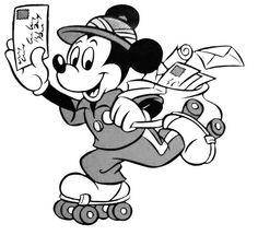 Special Delivery Mickey Mouse And Friends, Minnie Mouse, Love Me Forever, Roller Skating, Disney Art, Art Pictures, Disney Characters, Fictional Characters, Projects To Try