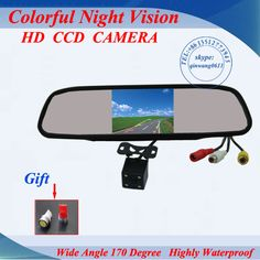 "2 in 1 HD CCD backup reversing Camera + 4.3"" HD 800*480 Car Mirror Monitor , rear view mirror monitor car parking camera"
