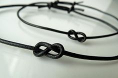 His & Hers set - Infinity knot - Leather cord - Adjustable bracelet - Every day of forever - Your choice of Black or Brown cord Jewelry Knots, Bracelet Knots, Diy Jewelry, Jewelery, Jewelry Bracelets, Jewelry Making, Unique Jewelry, Leather Cord, Leather And Lace