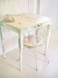 distressed finish painted for cottage style home decor; table furniture green white; Upcycle, Recycle, Salvage, diy, thrift, flea, repurpose!  For vintage ideas and goods shop at Estate ReSale & ReDesign, Bonita Springs, FL