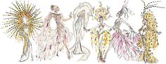 Bob Mackie sketches of showgirl costumes
